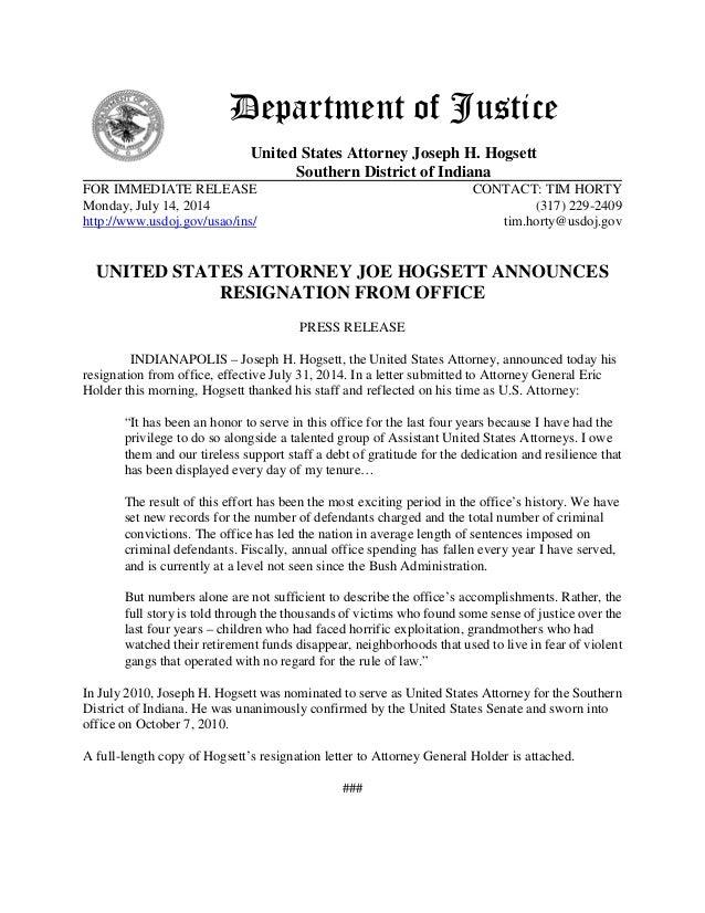 US Attorney Joe Hogsett Resigns