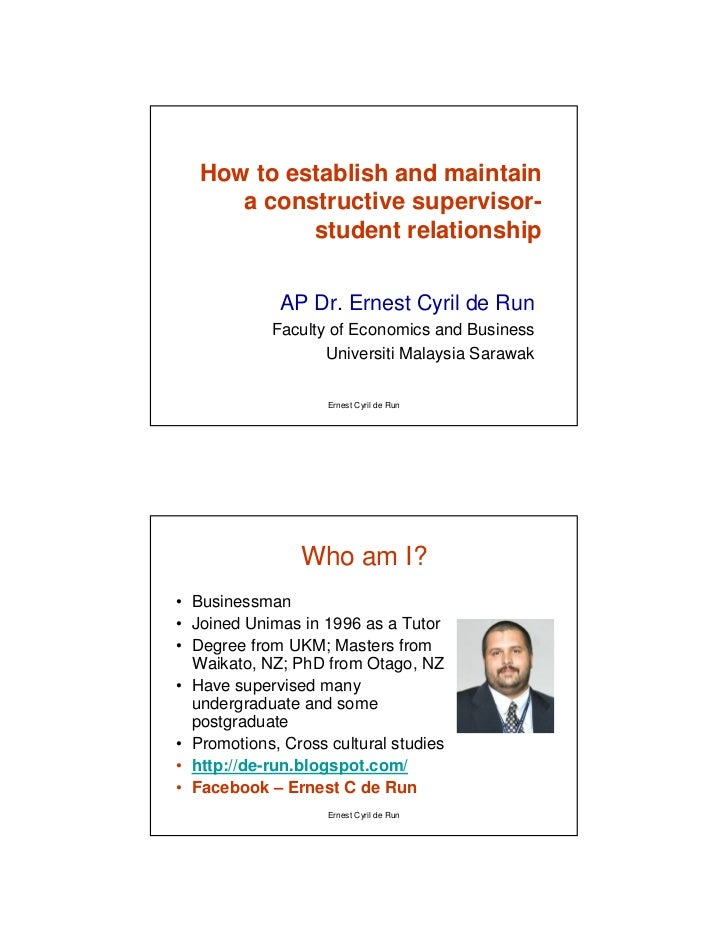 how to establish n maintain supervisor student relationship