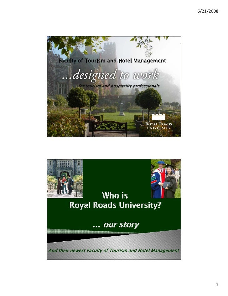 Faculty of Tourism and Hotel Management at Royal Roads University