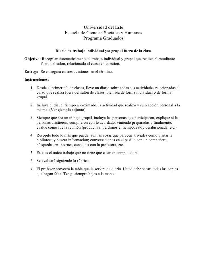 Diario de trabajo individual y grupal