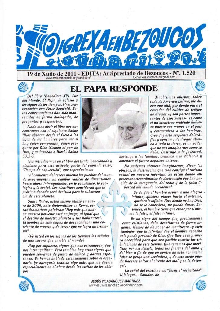 Hoja parroquial del 20 al 26 de junio de 2011