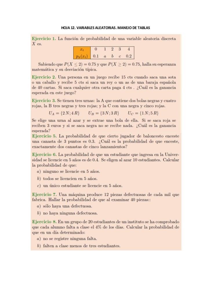 HOJA 12. VARIABLES ALEATORIAS. MANEJO DE TABLAS