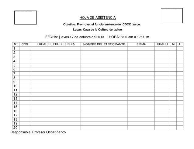 HOJA DE ASISTENCIA Objetivo: Promover el funcionamiento del CDCC Izalco. Lugar: Casa de la Cultura de Izalco.  FECHA: juev...