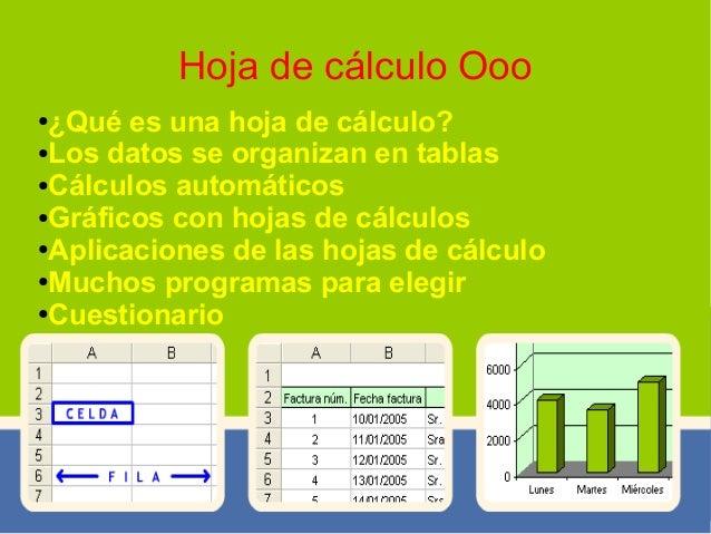 Hoja de cálculo Ooo ●¿Qué es una hoja de cálculo? ●Los datos se organizan en tablas ●Cálculos automáticos ●Gráficos con ho...
