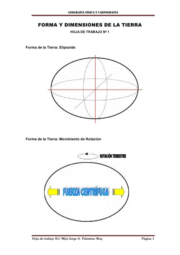 Geografía física y cartografía       FORMA Y DIMENSIONES DE LA TIERRA                            HOJA DE TRABAJO Nº 1Forma...