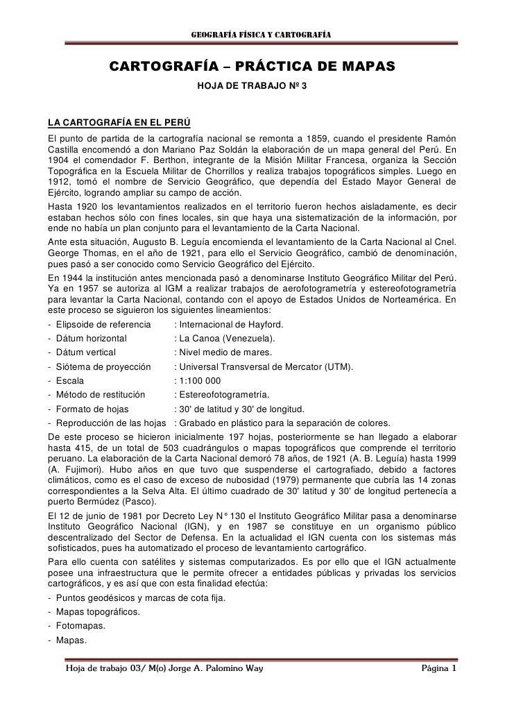 Geografía física y cartografía               CARTOGRAFÍA – PRÁCTICA DE MAPAS                                    HOJA DE TR...