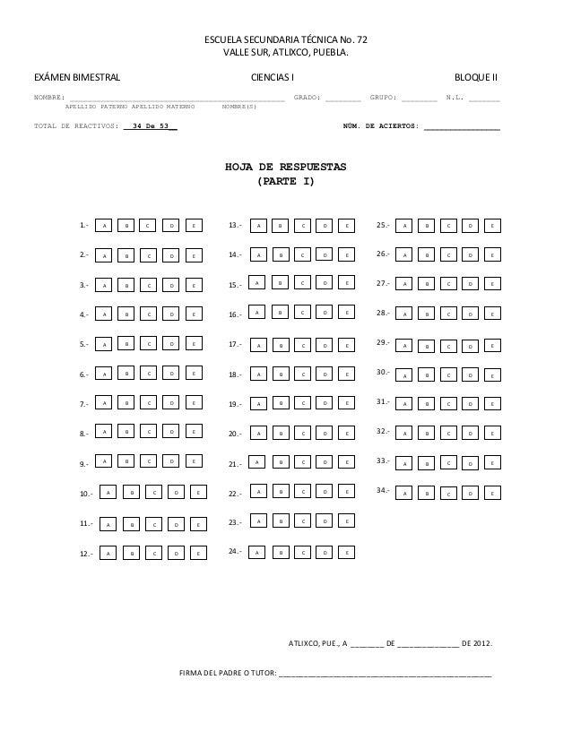 Hoja De Respuestas Examen De Ascenso | Consejos De Fotografía