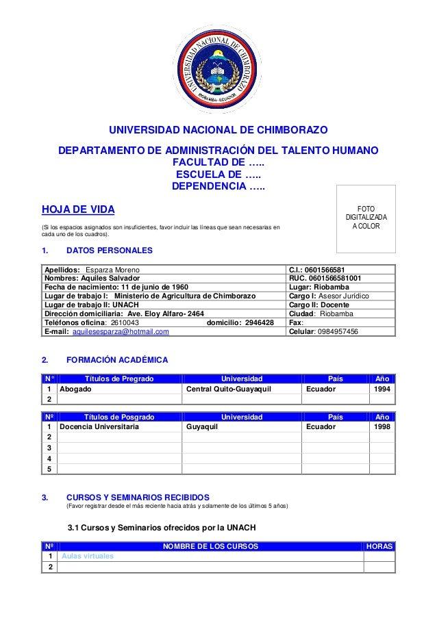 UNIVERSIDAD NACIONAL DE CHIMBORAZO DEPARTAMENTO DE ADMINISTRACIÓN DEL TALENTO HUMANO FACULTAD DE ….. ESCUELA DE ….. DEPEND...