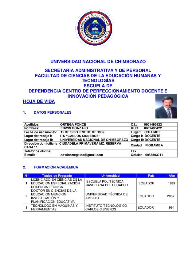 UNIVERSIDAD NACIONAL DE CHIMBORAZO SECRETARÍA ADMINISTRATIVA Y DE PERSONAL FACULTAD DE CIENCIAS DE LA EDUCACIÓN HUMANAS Y ...
