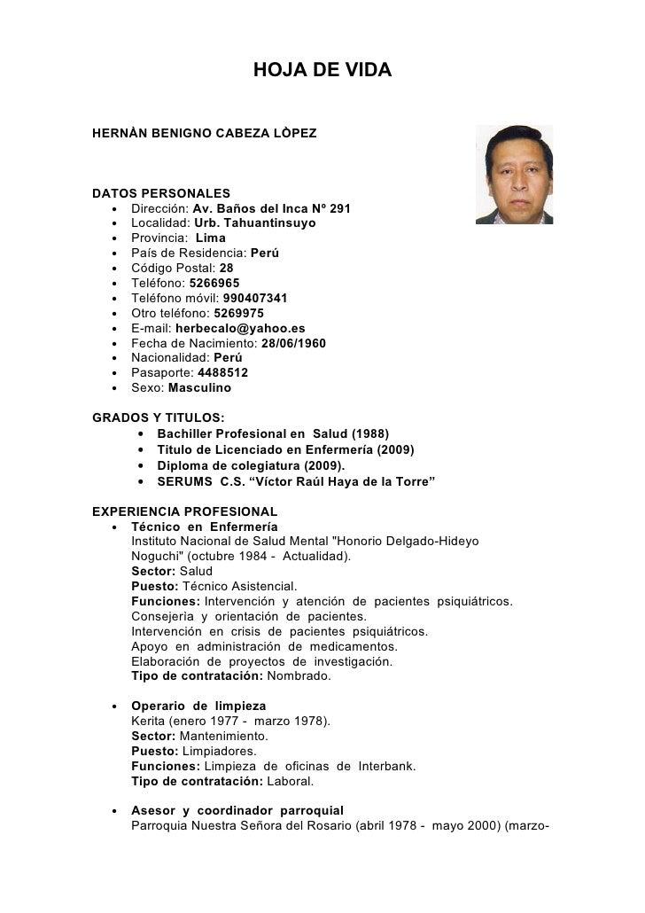 Hoja De Vida De Hernan Cabeza Lopez
