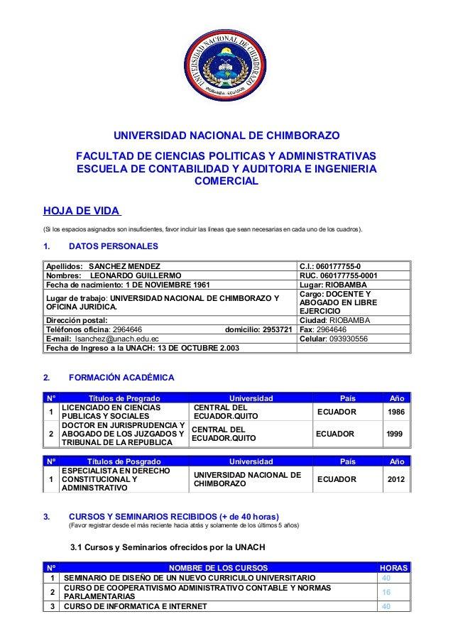 UNIVERSIDAD NACIONAL DE CHIMBORAZO FACULTAD DE CIENCIAS POLITICAS Y ADMINISTRATIVAS ESCUELA DE CONTABILIDAD Y AUDITORIA E ...