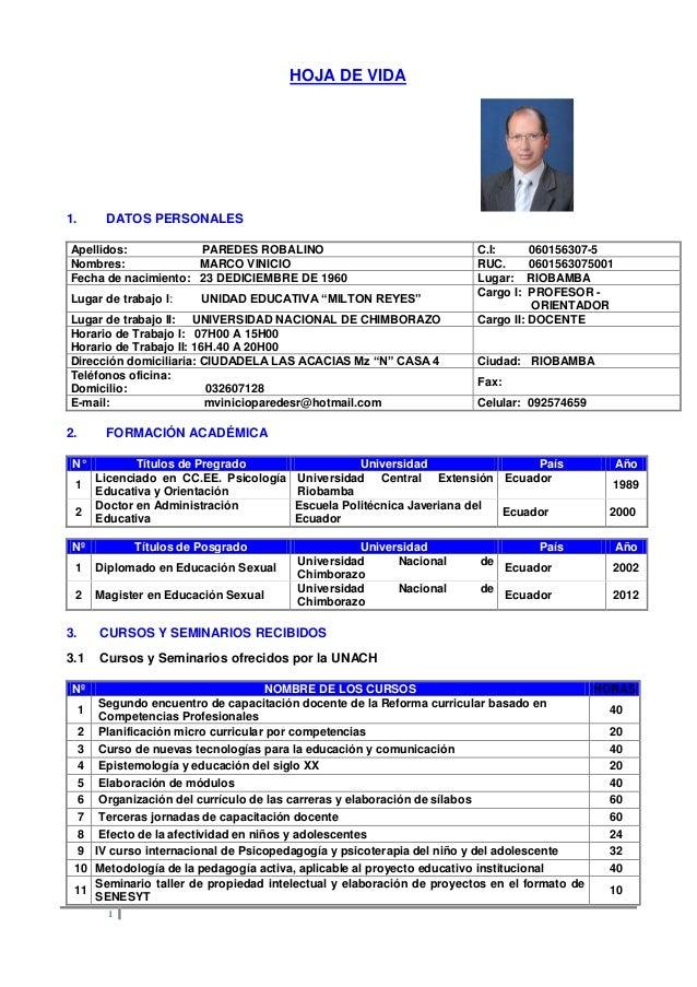 1HOJA DE VIDA1. DATOS PERSONALESApellidos: PAREDES ROBALINO C.I: 060156307-5Nombres: MARCO VINICIO RUC. 0601563075001Fecha...