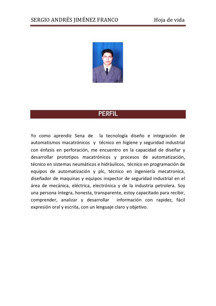 SERGIO ANDRÉS JIMÉNEZ FRANCO                               Hoja de vida                                PERFILYo como apren...