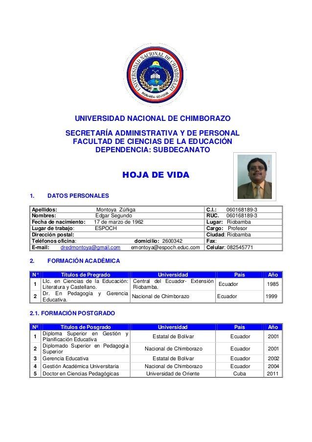 UNIVERSIDAD NACIONAL DE CHIMBORAZOSECRETARÍA ADMINISTRATIVA Y DE PERSONALFACULTAD DE CIENCIAS DE LA EDUCACIÓNDEPENDENCIA: ...