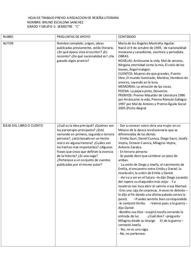 """HOJA DE TRABAJO PREVIO A REDACCION DE RESEÑA LITERARIA  NOMBRE: BRUNO ESCALONA SANCHEZ  GRADO Y GRUPO: 5- SEMESTRE """"C``  R..."""