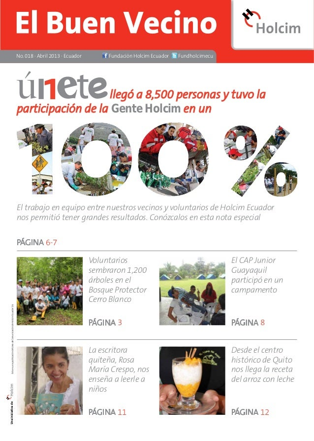 No. 018 · Abril 2013 · Ecuador Fundación Holcim Ecuador Fundholcimecu  llegó a 8,500 personas y tuvo la  participación de ...