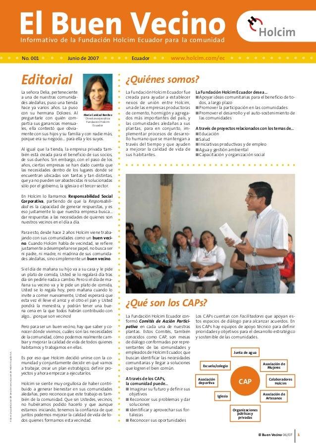 Colaboradores  Holcim  El Buen Vecino 06/07  El Buen Vecino Informativo de la Fundación Holcim Ecuador para la comunidad  ...