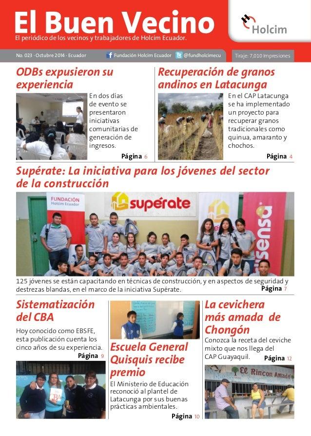 No. 023 · Octubre 2014 · Ecuador  Recuperación de granos  andinos en Latacunga  Página Página  4  Supérate: La iniciativa ...