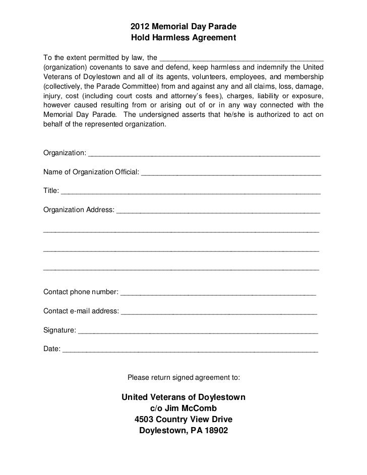2012 Memorial Day Parade                           Hold Harmless AgreementTo the extent permitted by law, the ____________...