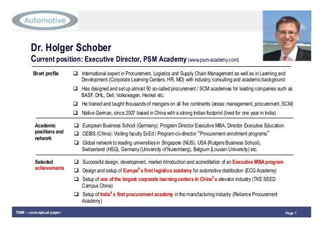 Page 1TAMI – conceptual paper Dr. Holger Schober Current position: Executive Director, PSM Academy (www.psm-academy.com) S...