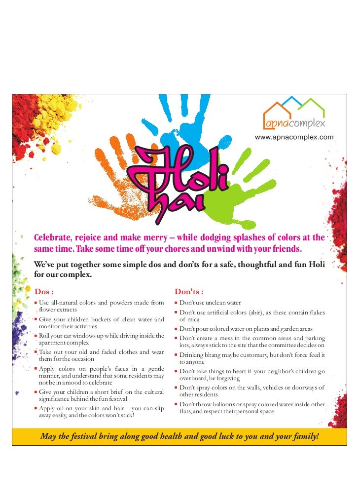 Holi Dos and Don'ts poster for your Housing Society