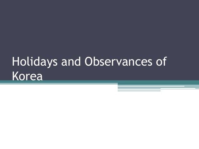 Holidays and observances of korea