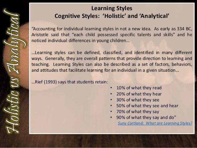 learning style essay example Students: please choose two of the three learning style inventory sites listed below and answer the questions posed please collect and organize the results think about the information being shared with you about your learning style so that you can write about it in the personal essay assignment.
