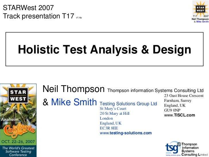 Holistic Test Analysis & Design (2007)