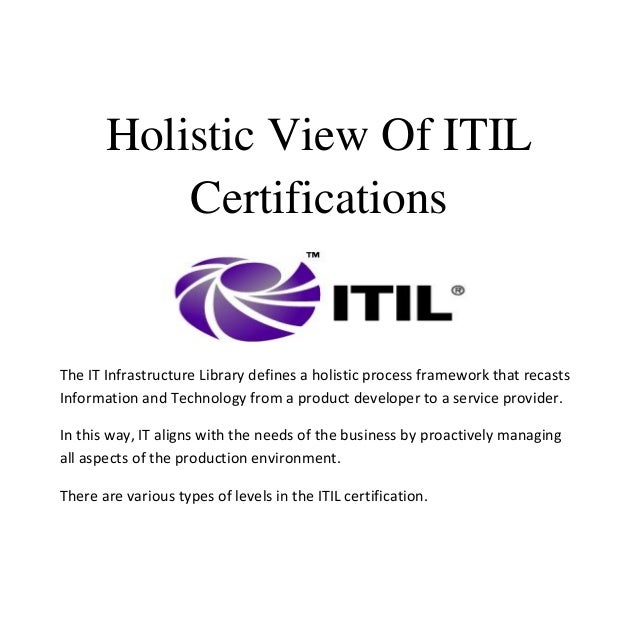 Holistic view of itil certifications