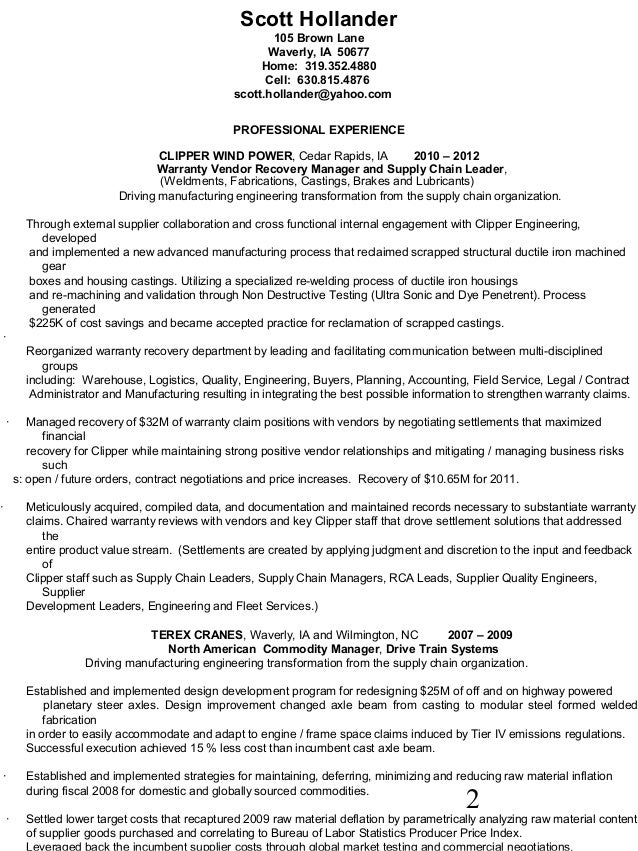 hollander resume advanced manufacturing process
