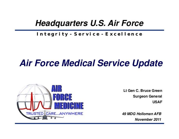 Headquarters U.S. Air Force   Integrity - Service - ExcellenceAir Force Medical Service Update                            ...