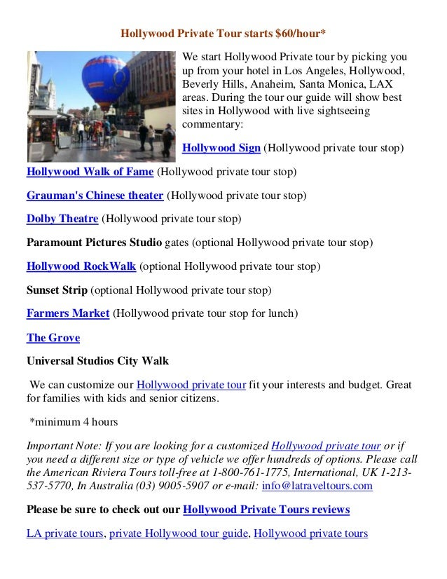 Hollywood Private Tour starts $60/hour*We start Hollywood Private tour by picking youup from your hotel in Los Angeles, Ho...