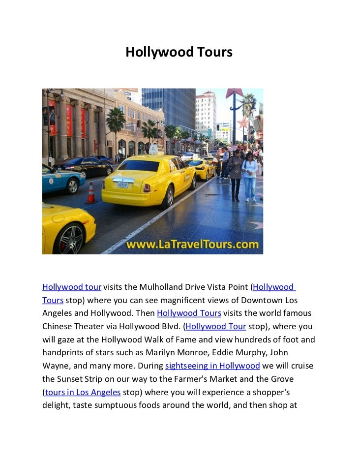 Hollywood ToursHollywood tour visits the Mulholland Drive Vista Point (HollywoodTours stop) where you can see magnificent ...