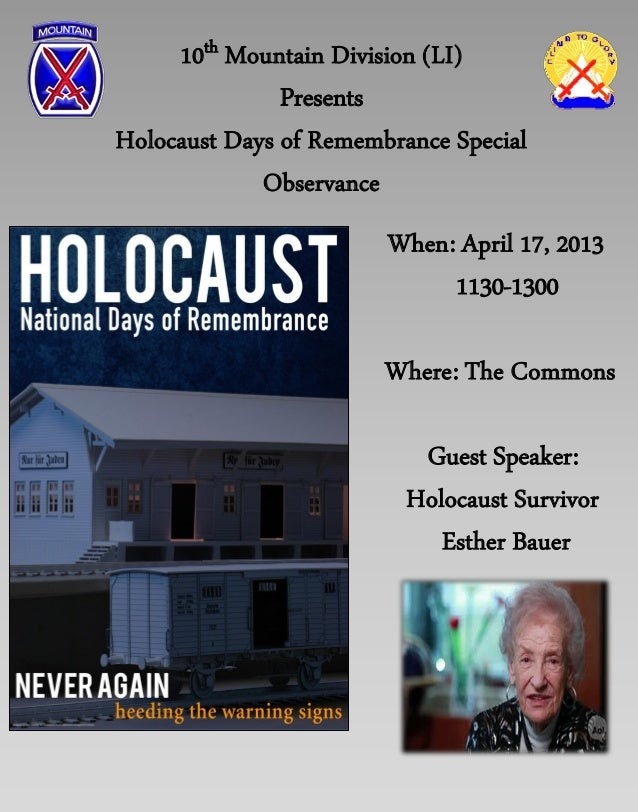10th Mountain Division (LI)               PresentsHolocaust Days of Remembrance Special             Observance            ...