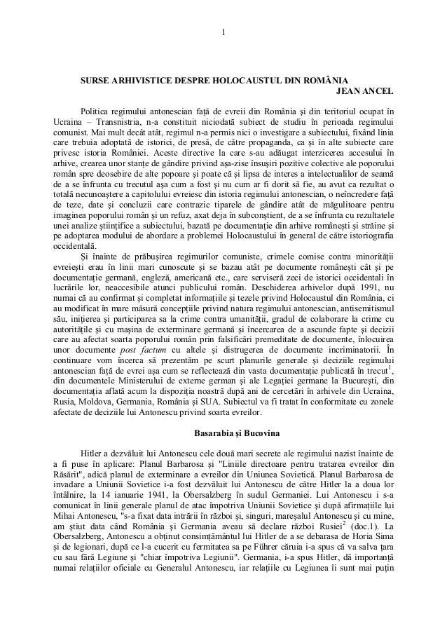 1       SURSE ARHIVISTICE DESPRE HOLOCAUSTUL DIN ROMÂNIA                                                     JEAN ANCEL   ...