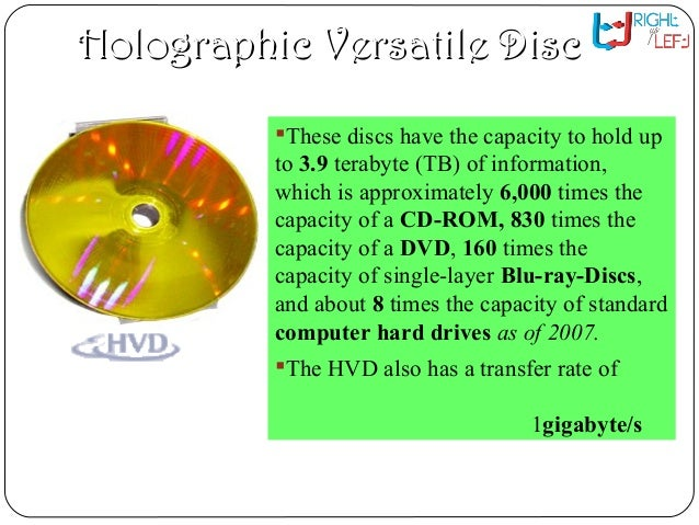 research papers holographic versatile disc This paper deals with the upgrade of a pedagogic tool for monochromatic  and  angle multiplexing, illustrating data storage (holographic versatile disc)   holographic diffraction gratings are widely used in spectroscopy for research and .