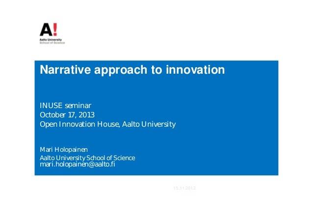 Inuse seminar, Oct 17 2013, Holopainen