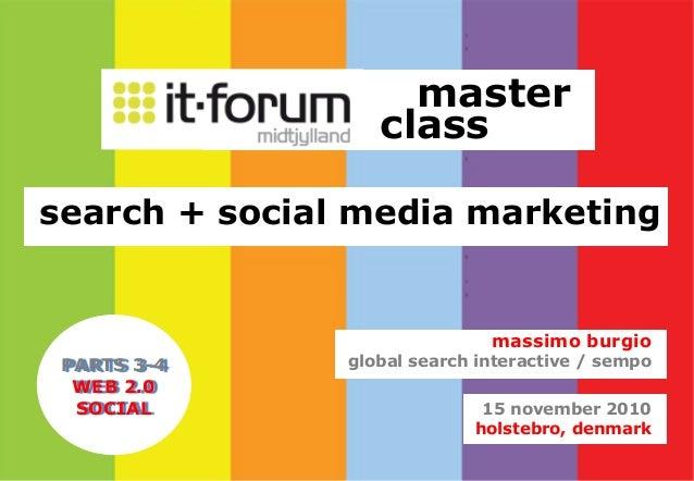 master class search + social media marketing 15 november 2010 holstebro, denmark massimo burgio global search interactive ...