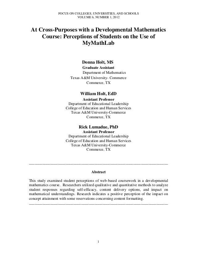 FOCUS ON COLLEGES, UNIVERSITIES, AND SCHOOLSVOLUME 6, NUMBER 1, 20121At Cross-Purposes with a Developmental MathematicsCou...