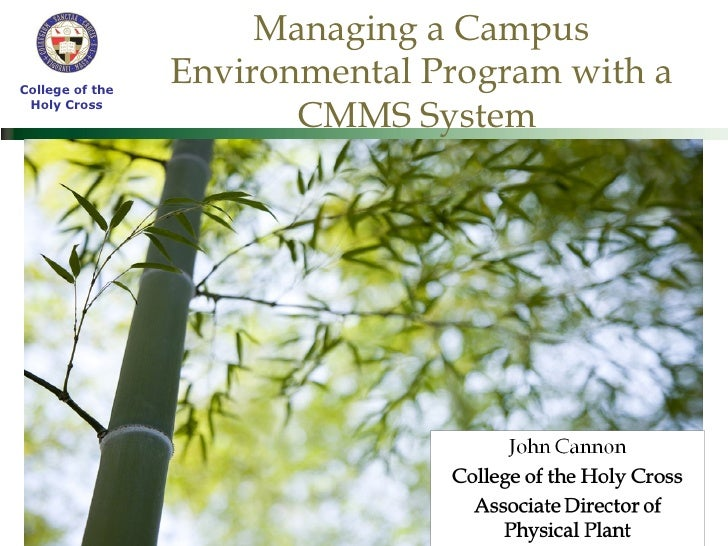 Managing a Campus Environmental Program with a CMMS System