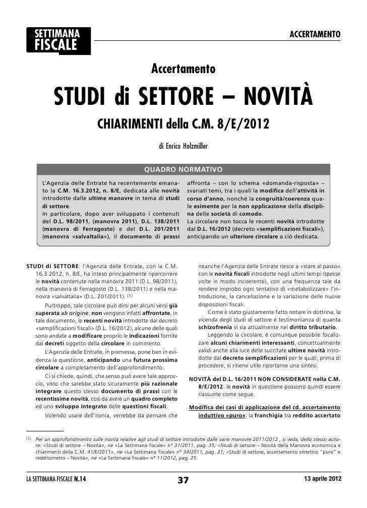 STUDI di SETTORE – NOVITÀ CHIARIMENTI della C.M. 8/E/2012