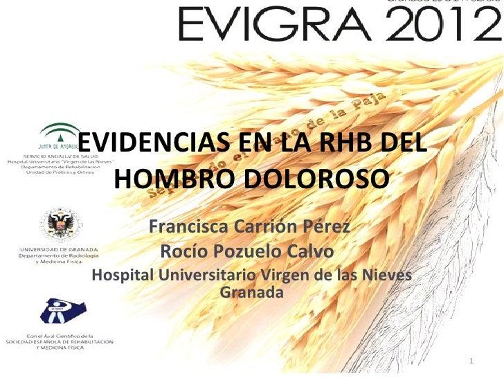 EVIDENCIAS EN LA RHB DEL  HOMBRO DOLOROSO        Francisca Carrión Pérez         Rocío Pozuelo Calvo Hospital Universitari...