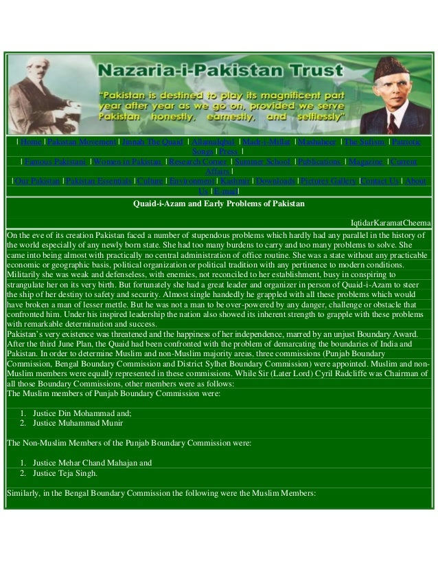 Quaid-e-Azam and Early Problems of Pakistan