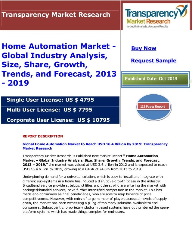 REPORT DESCRIPTION Global Home Automation Market to Reach USD 16.4 Billion by 2019: Transparency Market Research Transpare...