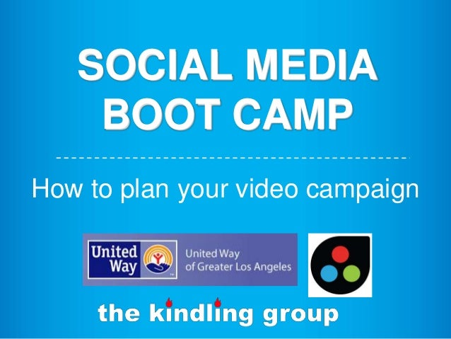 SOCIAL MEDIA BOOT CAMP How to plan your video campaign