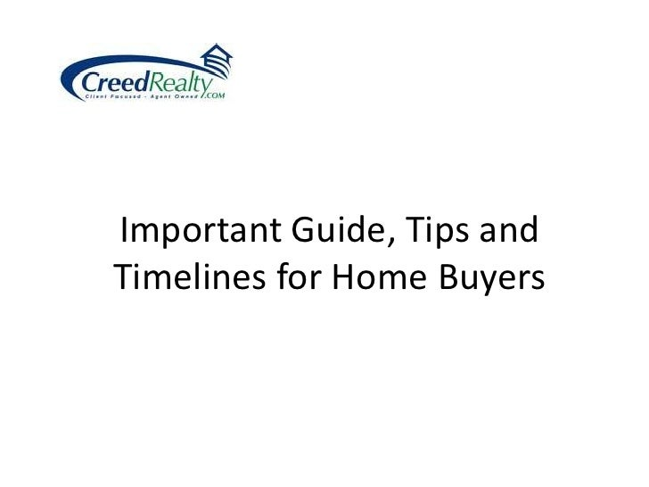 Important Guide, Tips and Timelines for Home Buyers<br />