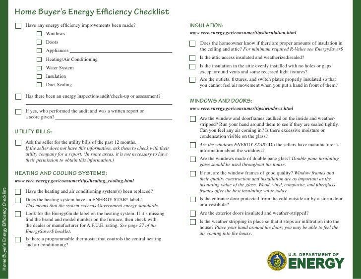 Home Buyer's Energy Efficiency Checklist                                                Have any energy efficiency improve...