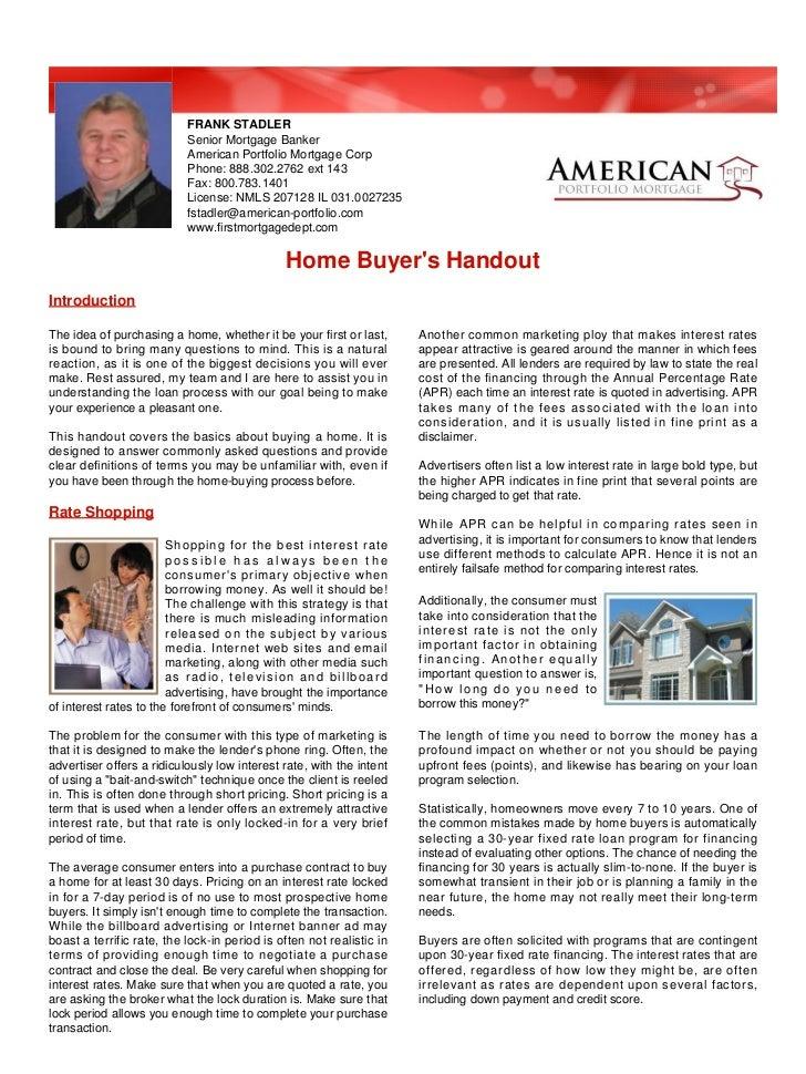 FRANK STADLER                           Senior Mortgage Banker                           American Portfolio Mortgage Corp ...