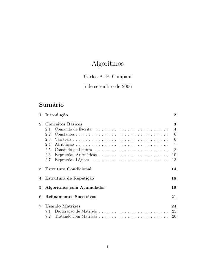 Algoritmos                         Carlos A. P. Campani                         6 de setembro de 2006   Sum´rio    a 1 Int...