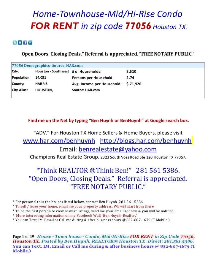 """Home-Townhouse-Mid/Hi-Rise Condo               FOR RENT in zip code 77056 Houston TX.      Open Doors, Closing Deals."""" Ref..."""